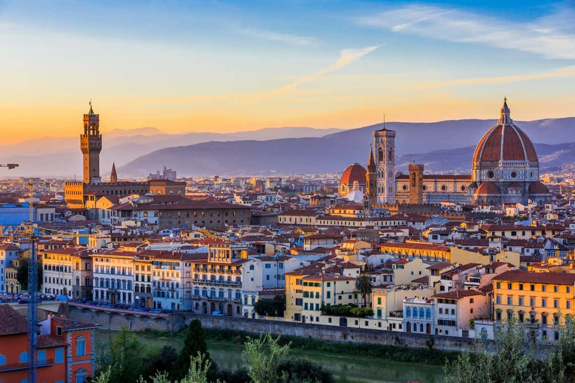 Landscape of Florence at the sunset